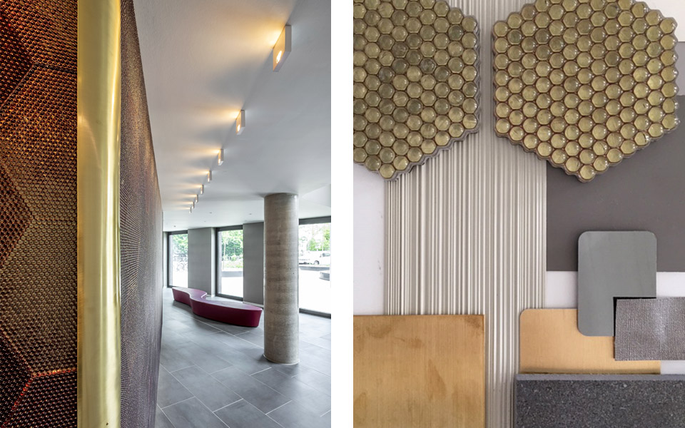 Opal Wandgestaltung Foyer / Materialien